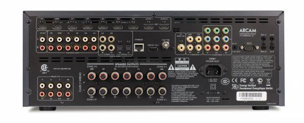 Arcam AVR450 házimozi erősítő hátlap