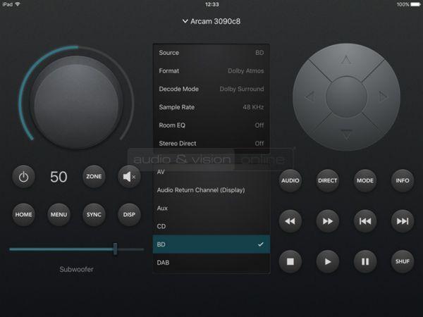 Arcam AVR850 házimozi erősítő távvezérlő App