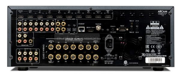 Arcam AVR850 Dolby Atmos házimozi erősítő hátlap