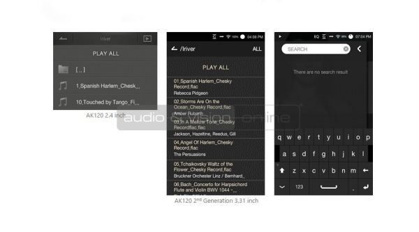 Astell and Kern AK120 és AK120 II mobil audio lejátszó kijelző