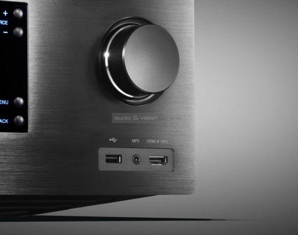 Cambridge Audio CXR120 házimozi erősítő előlapi csatlakozók