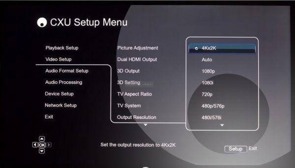Cambridge Audio CXU Blu-ray lejátszó Setup menü