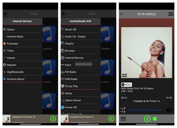 Cocktail Audio X45 hálózati zenelejátszó App