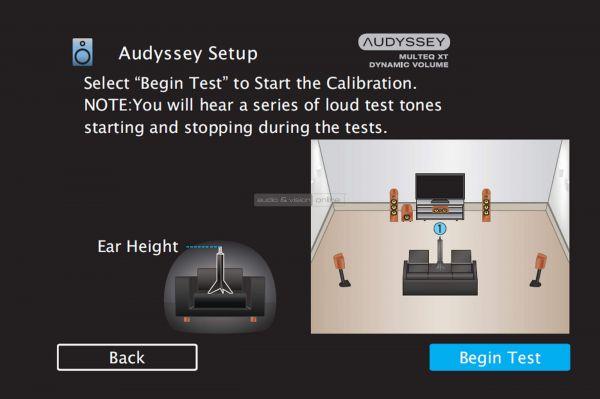 Denon AVR-X1500H házimozi erősítő menü - Audyssey Setup Begin Test