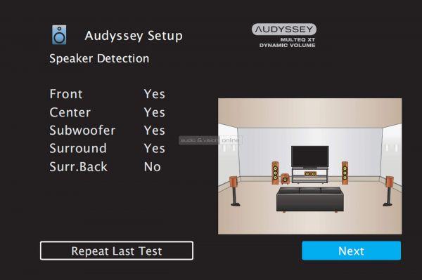 Denon AVR-X1500H házimozi erősítő menü - Audyssey Setup Detection