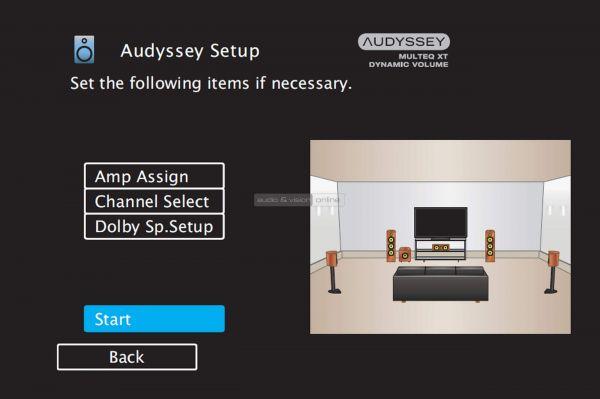 Denon AVR-X1500H házimozi erősítő menü - Audyssey Setup Start