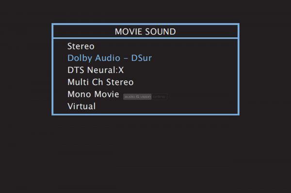 Denon AVR-X1500H házimozi erősítő menü - Movie Sound