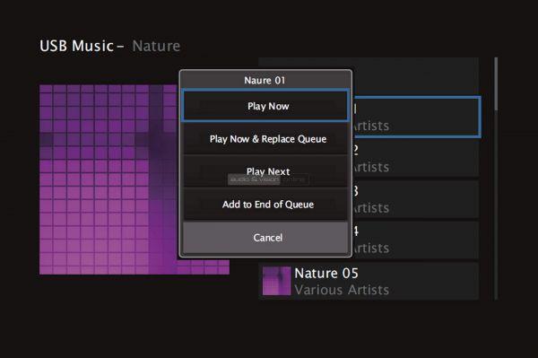 Denon AVR-X1500H házimozi erősítő menü - USB Music