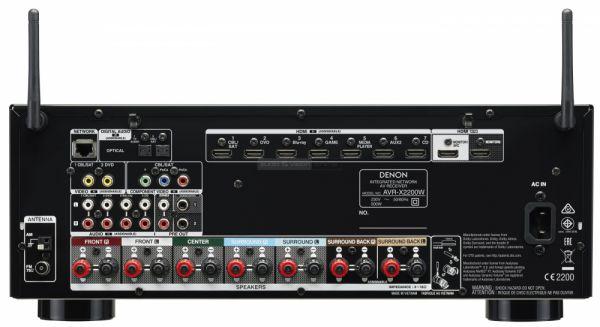 Denon AVR-X2200 Dolby Atmos házimozi erősítő hátlap