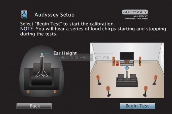 Denon AVR-X2300W házimozi erősítő menü - Audyssey setup