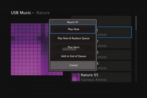 Denon AVR-X4500H házimozi erősítő menü USB Music