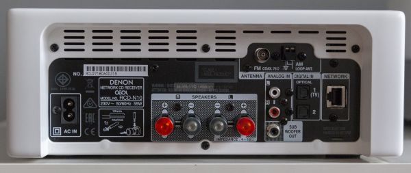 Denon CEOL RCD-N10 mikro hifi rendszer hátlap