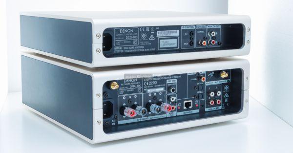 Denon DRA-100 sztereó erősítő és DCD-100 CD-lejátszó hátlap