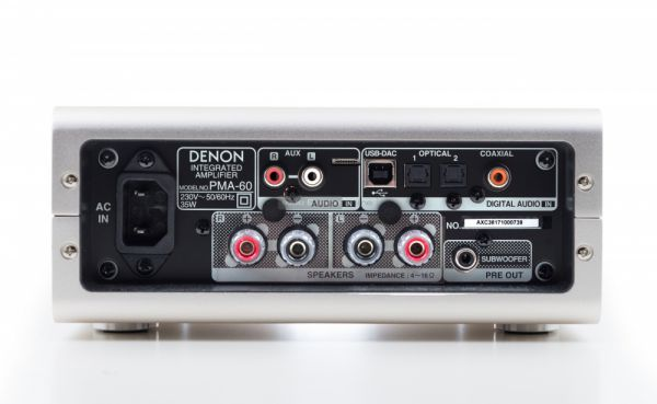 Denon PMA-60 sztereó erősítő hátlap