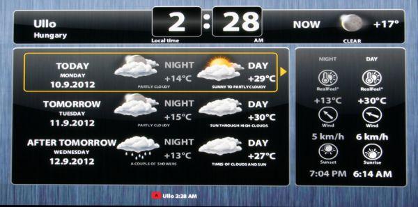 HDI Dune HD TV-301 média lejátszó időjárás