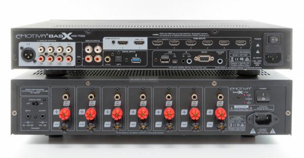 Emotiva MC-700 házimozi processzor és A-700 hétcsatornás végfok hátlap