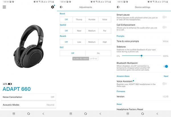 EPOS-Sennheiser ADAPT 660 zajzáras Bluetooth fejhallgató App