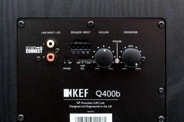 KEF Q400b aktív mélyláda hátlap