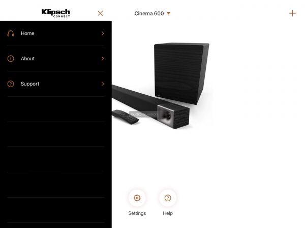 Klipsch Cinema 600 Sound Bar soundbar App
