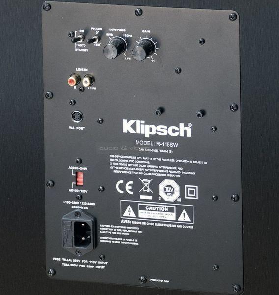 Klipsch R-115SW aktív mélyláda hátlap