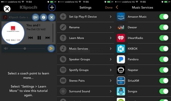 Klipsch Stream App settings