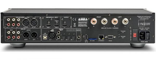 Lyngdorf Audio TDAI-3400 sztereó erősítő hátlap