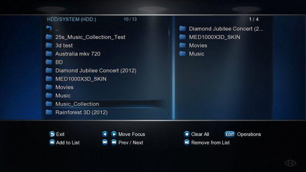 Mede8er MED600X3D médialejátszó file manager