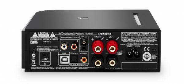 NAD D 3020 hibrid digitális erősítő hátlap