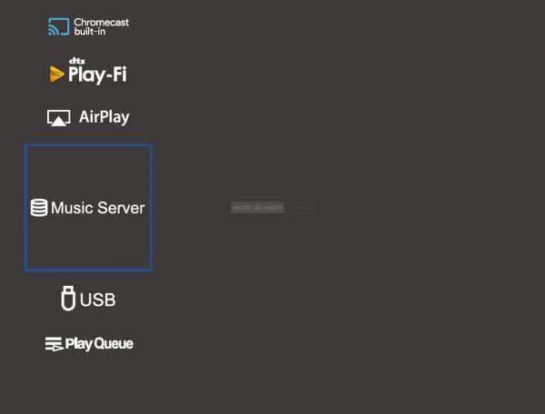 Onkyo TX-NR686 házimozi erősítő menü Music Server