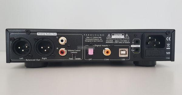Parasound Zdac V2 DAC hátlap