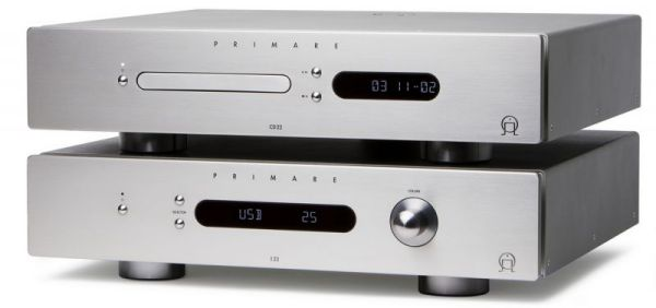 Primare I22 integrált sztereó erősítő és CD22 CD-lejátszó ezüst színben