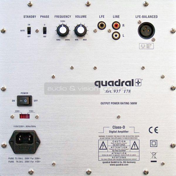 quadral QUBE 12 AKTIV aktív mélyláda hátlap