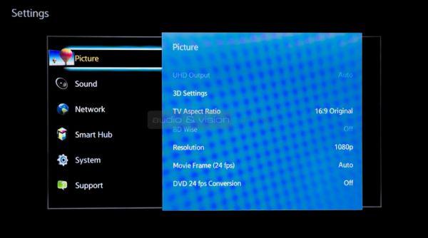 Samsung BD-H6500 Blu-ray lejátszó menü