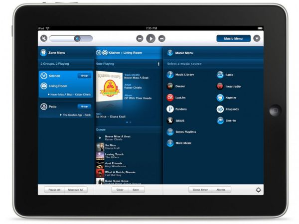 Sonos controller iPad-re