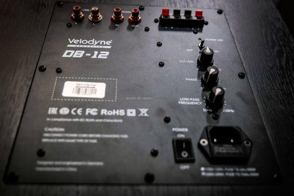 Velodyne DB12 aktív mélyláda hátlap