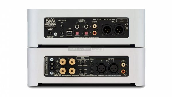 Wadia di122 digital audio decoder és a102 sztereó végfok hátlap