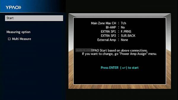Yamaha RX-A1080 házimozi erősítő menü YPAO start