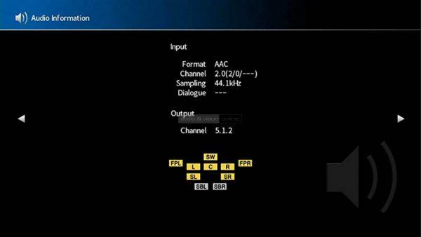 Yamaha RX-A1080 házimozi erősítő menü audio information