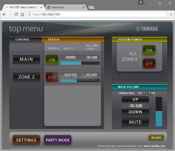Yamaha RX-V781 házimozi erősítő Web Control